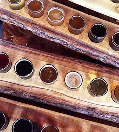 Live Edge Poplar Wood Beer Flight with Glasses | Home Drinking ...