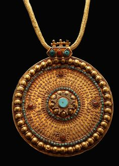 """""""Ottoman Gold Necklace with Inlaid Pendant, Turkey, c. 13th-16th Cent. AD. The roots of the Ottoman Empire can be traced back to the migration of Turkic tribes from Central Asia into Anatolia."""