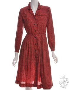 Vintage Vintage Day Dress Red With A Revere Front | Beyond Retro