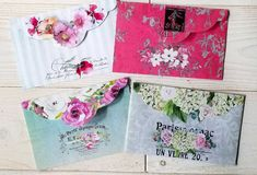 Floral Envelopes Printable Download - Instant Download - Digital Envelopes - For Letter Writing, Scrapbooking, Journaling