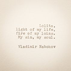 Vladimir Nabokov Typewriter Quote ... Hand Typed on 1970s Typewriter - Quote bookmark Lolita first lines size 4 3/8 x 3 2/8 in
