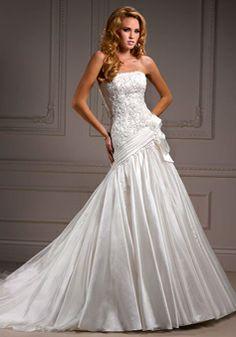 A-line Organza Strapless Asymmetric Waist Sleeveless Floor-Length Wedding Dress