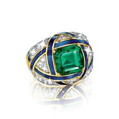 Verdura | Products | RINGS | GEMSTONE | Important Colombian Emerald, Diamond and Enamel Ring