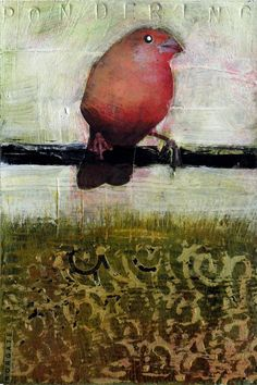 pondering.  sheila norgate. Love how she stamped the word into the substrate! Wood?