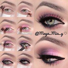 Easy step by step makeup Set of 5 tutorials - eye-makeup Glamorous Makeup, Glam Makeup, Skin Makeup, Eyeshadow Makeup, Beauty Makeup, Pink Eyeshadow, Sparkle Makeup, Makeup Contouring, Gloss Eyeshadow