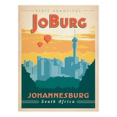 Johannesburg by Anderson Design Group Vintage Advertisement Americanflat Size: 60 cm H x 42 cm W Posters Decor, Art Posters, South Africa Art, Party Vintage, Arte Pop, Vintage Travel Posters, Retro Posters, Africa Travel, Illustrations