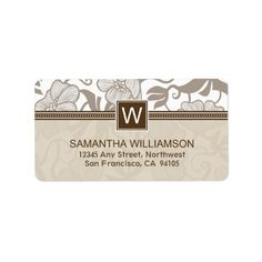Floral Monogram Return Address Labels (brown)