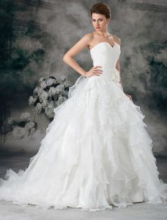 Glamorous Ivory Ruched Sweetheart Neck A-line Organza Wedding Dress - Milanoo.com