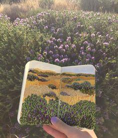 "ohkiistudio: ""Fields of purple and gold 🌾 (at Calamosche - Riserva Naturale di Vendicari) "" Art Sketches, Art Drawings, Arte Sketchbook, Travel Sketchbook, Art Hoe, Sketchbook Inspiration, Art Graphique, Art Design, Art Plastique"