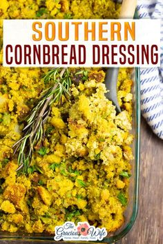 A traditional Southern Cornbread Dressing recipe perfectly seasoned with onions, celery, and sage. Makes a delicious addition to every holiday table. Southern cornbread dressing is easy to make, but so delicious and makes the perfect addition to the holiday table. I have to say, this may be my new favorite holiday dish. (Don't tell my family!) I'm definitely bringing it to my hubby's family Thanksgiving. | The Gracious Wife @thegraciouswife #thanksgivingstuffing #stuffinrecipes Holiday Side Dishes, Side Dishes Easy, Side Dish Recipes, Veggie Recipes, Appetizer Recipes, Dinner Recipes, Cookie Recipes, Family Thanksgiving, Thanksgiving Side Dishes
