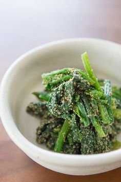 """Hourensou no goma-ae (菠薐草の胡麻和え) literally translates to """"spinach dressed with sesame seeds"""". If that sounds simple, that's because it is. With only a handful of other ingredients, it's a quick Japanese salad that's served as a side for breakfast, lunch or dinner. While the nutty sesame and verdant spinach are the dominant flavors, goma-ae is also smoky, subtly sweet and full of umami, thanks to the dashi-based dressing."""