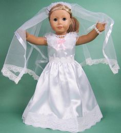 New handmade 2015 beautiful doll clothes,top popular free shipping white long wedding dress ,fashionable doll clothes (China (Mainland))