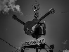 """This is the tourism marker for the intersection of highways 49 and 61 a.k.a. the Crossroads. The Crossroads were made famous by the song Cross Road Blues; a Delta blues song written and recorded by Robert Johnson which became part of the mythology of the Faustian bargain made by Johnson in which he sold his soul to the Devil for his musical abilities. The song was later adapted by Eric Clapton and recorded as simply """"Crossroads"""" with his band Cream."""