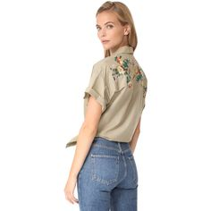 Madewell Safari Shirt (140 BRL) ❤ liked on Polyvore featuring tops, ash green, collared shirt, short-sleeve shirt, tie shirt, embroidered top and short sleeve collared shirts