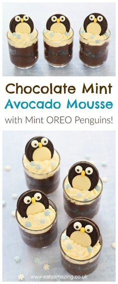 Chocolate Mint Avocado Mousse recipe with cute Mint Oreo Penguins - quick easy and fun dessertrecipes from Eats Amazing UK #Christmas #christmasfood #chocolate #avocado #oreo #mousse #easyrecipe #funfood #foodart #penguin #dessertrecipes #dessert #familyfood #kidsfood