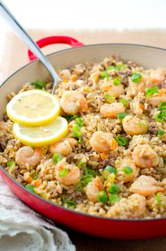 Easy Dirty Rice with Shrimp - A healthy twist on a Cajun classic. The addition of shrimp turns this into a fabulous main dish. Easy to make and very flavorful!