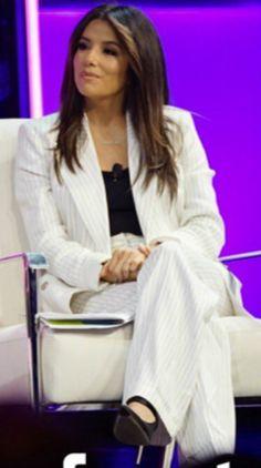 Who made Eva Longoria's white stripe pant suit? Jennifer Hudson, Jennifer Connelly, Kate Hudson, Victoria Beckham Shoes, Eva Longoria Style, Emmanuelle Chriqui, Catherine Zeta Jones, Rachel Bilson, Beyonce Knowles