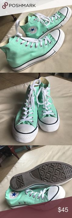Mint green converse In perfect condition, mint green size 7in men's, size 9 in woman's Converse Shoes Sneakers