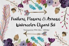 Watercolor Feather, Flowers & Arrows by The Autumn Rabbit Ltd on @creativemarket