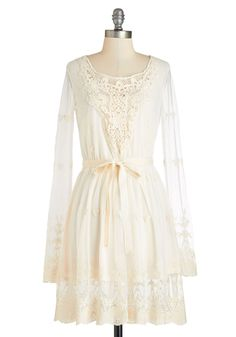 Searching for Ethereal Love Dress. With visions of the perfect bohemian frock dancing through your mind, you searched until you found this dream come true! #cream #modcloth