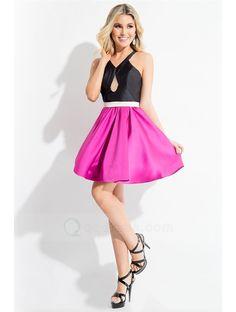 82476313a49 Rachel Allan 4169 is a color block dress in tri-toned Mikado