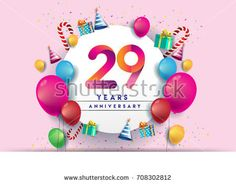 29th years Anniversary Celebration Design with balloons and gift box, Colorful design elements for banner and invitation card.