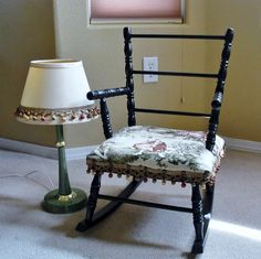 Solid wood upholstered childrens vintage rocking chair. Upholstery is in an antique storybook scene. Poms adorn the vintage lampshade, as on the chair trim. The chair measures 22 1/2 tall x 14 wide at the widest part. The lamp is approx. 20 H with the shade and weighted base is 6 1/2 in diameter. International shipping welcome, please convo a postal code for ship rate.