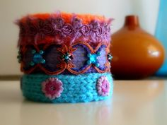 Knitted Bracelets KB 28 WINTER MOOD Set of 3 by Vladilenashandmade, $20.00