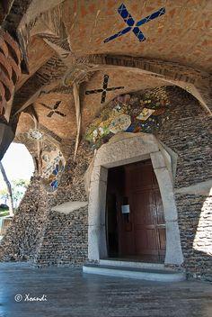 The Church of Colònia Güell (unfinished) Santa Coloma de Cervelló, (near Barcelona) Spain. Construction started: 1898. Antoni Gaudi.