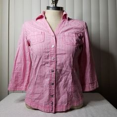 Pink gingham button down top Shirt on Mercari Judy Hops, Zootopia Movie, Button Downs, Button Down Shirt, Pink, Bunny, Sculpture, Google Search, Tops
