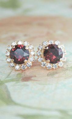 Burgundy rose gold crystal earrings   burgundy wedding   marsala wedding   marsala   burgundy    www.endorajewellery.etsy.com