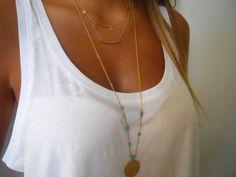Triple Layered Gold Necklace Set Boho Chic Layered by annikabella
