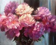 """Trevor Waugh   """"Peonies from France """", oil 20x16"""""""