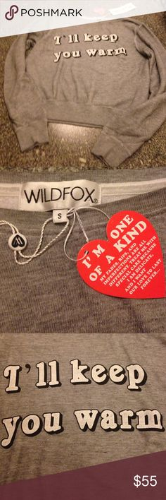 WILDFOX sweatshirt size small NWT gray with graphic on front. Very soft and generously sized. Not tight fitting. Wildfox Tops Sweatshirts & Hoodies