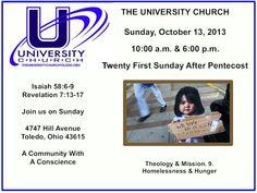 Sunday, October 13, 2013 at The University Church.