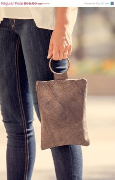 Dark brown leather wristlet clutch/ Evening bag/ Soft leather clutch/ On SALE 57$