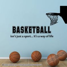 Basketball Wall Decal with Hoop- Sports Room Decor - Boys Vinyl Wall Decal Quote - NBA Sports Vinyl Wall Lettering - Softball, Volleyball, Sport Basketball, Basketball Is Life, Baseball, Basketball Practice, Basketball Drills, Women's Lacrosse, Basketball Motivation