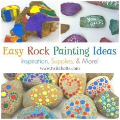 Easy Rock Painting Ideas. Rock decorating techniques from stone painting ideas to construction paper. Perfect for kids and beginner techniques. Favorite supplies too! Holiday Crafts For Kids, Paper Crafts For Kids, Easy Crafts For Kids, Craft Activities For Kids, Craft Ideas, Adult Crafts, Fun Ideas, Decorating Ideas, Rock Painting Patterns