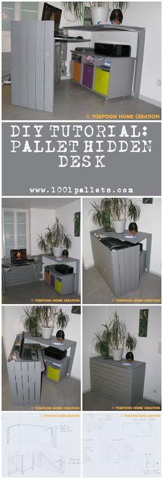 """#PalletDesk, #Pdf, #RecyclingWoodPallets, #Tutorial    This tutorial by François from """"Torpoon Home Creation"""" in collaboration with 1001Pallets will describe how to make a hidden desk out of four repurposed wooden pallets, perfect for small apartment and super functional.     4 Pallets."""