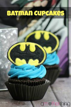 Superhero Party Ideas – Batman Chocolate Cupcakes! I need these. Just because. Forget the superhero party!