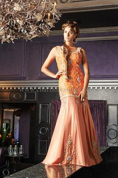 Reception Gown - Orange raw silk and georgette designer piece, create the perfectly stylish gown