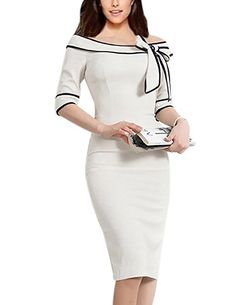 Women's 1950s Retro 3/4 Sleeve Bow Cocktail Party Evening Dress Work Pencil Dress at Amazon Women's Clothing store: