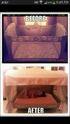 Free for All: Making a DIY toddler bed! For when I am all done having kids. I can make this for my grand kids out of the old playpen! My Baby Girl, Baby Love, Diy Toddler Bed, Toddler Tent, Princess Toddler Bed, Baby Tent, Toddler Rooms, Pack And Play, Ideias Diy