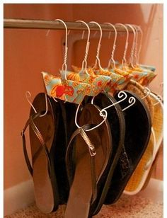 I don't wear that many flip flops or have room in my closet to hang shoes, but I just loved this creativity! I can't read this website, but it has lots of interesting pictures!