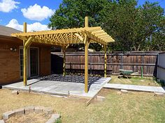 Sweet Tea Sunsets: Operation Back Yard Pergola Brick Pavers, Concrete Patio, Concrete Projects, Backyard Projects, Outdoor Spaces, Outdoor Living, Patio Stairs, Patio Makeover, Ranch Life