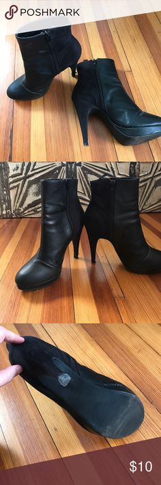"Black two-tone high-heel booties. 🚨siren alter!!! The pair of black two tone booties are making a femme fatale statement! Synthetic leather and suede. 4.5"" height. A nick on the bottom of the right heel; should be a easy fix. Euro size : 38. Label indicated US 7, however, I'm a size 8-8.5 and they fit me perfectly. No trade. TU. H&M Shoes Ankle Boots & Booties"