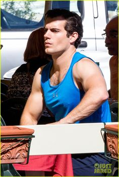 Henry Cavill Films 'Man from U.N.C.L.E.' After Ex Kaley Cuoco's Engagement News | henry cavill shows off muscular arms for man from uncle 03...