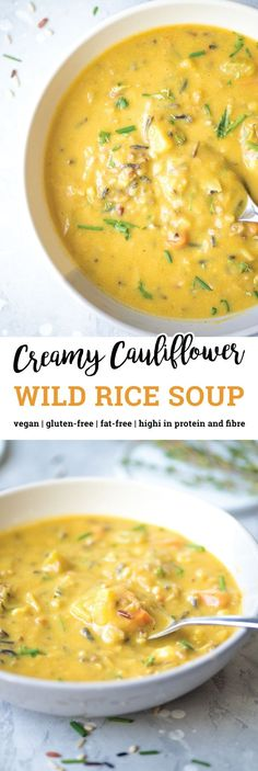 This healthy creamy cauliflower wild rice soup is made with high-fibre cauliflower and carrots and it contains nutritional yeast for a cheesy twist on traditional wild rice soup. It's vegan virtually fat-free high in protein gluten-free easy to make Healthy Recipes, Whole Food Recipes, Cooking Recipes, Easy Recipes, Fat Free Recipes, Vegan Recipes With Wild Rice, Vegan Wild Rice Soup Recipe, Easy Vegan Soup, Creamy Soup Recipes