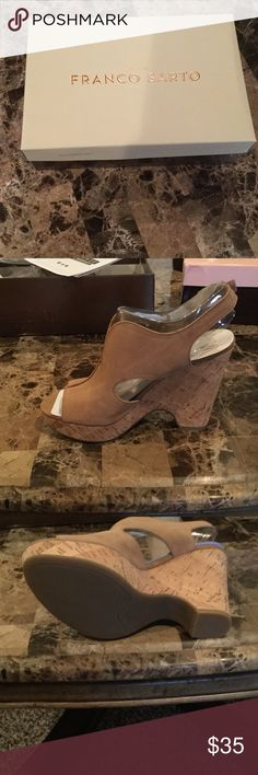 Franco Sarto Gallard Sandal Beautiful Beige Franco Sarto sandal. Never worn. Size 6. Can be dressed up for a evening out or causal for a day shopping at the mall. Franco Sarto Shoes Wedges
