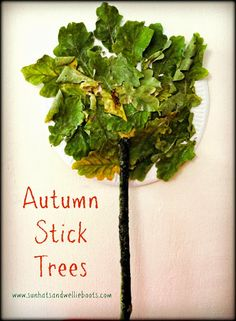 Sun Hats & Wellie Boots: Autumn Stick Trees made with Paper Plates